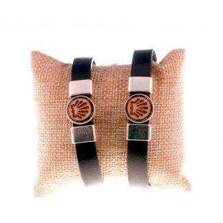 Lederen Camino Armband met Houten Schelp