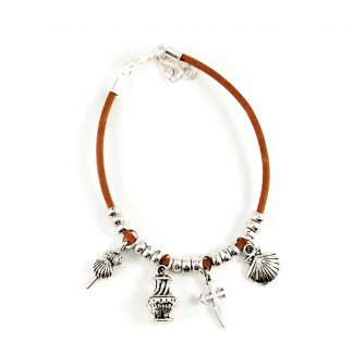 Leather camino pendant bracelet