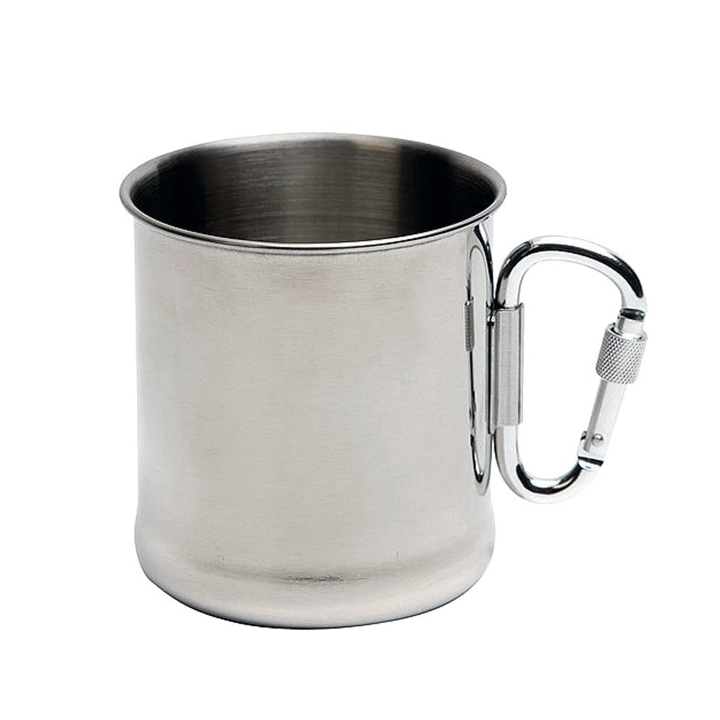 rvs mug with carabiner handle